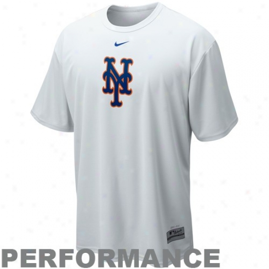 New York Mets Attire: Nikke New York Mets White Nikefit Mlb Logo Performance T-shirt
