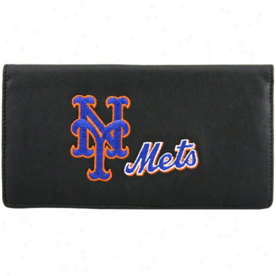 Starting a~ York Mets Black Embroidered Leather Checkbook Cover