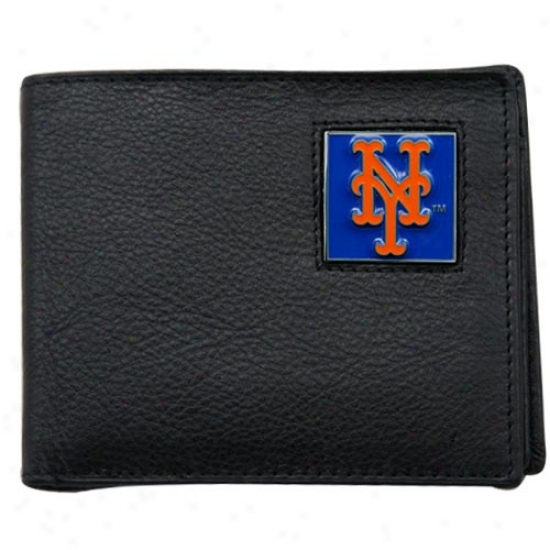 New York Mets Black Genuine Leather Executive Billfold Wallet