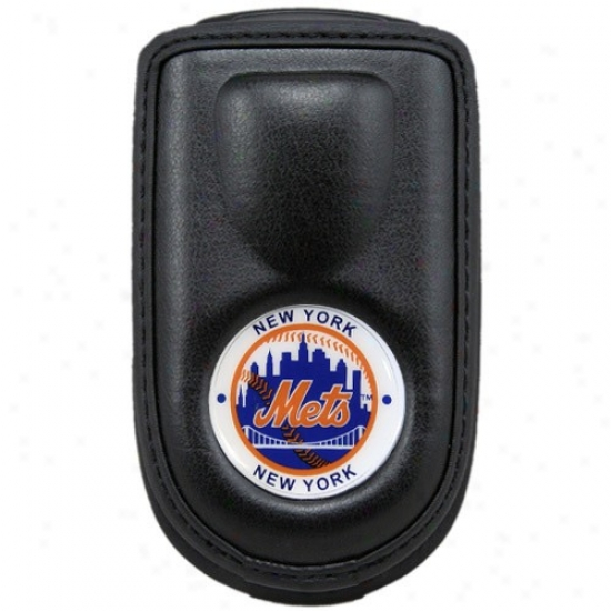 New York Mets Black Leather Cell Phon Case