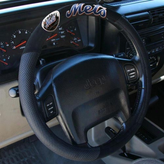 New York Mets Black Steering Wheel Cover