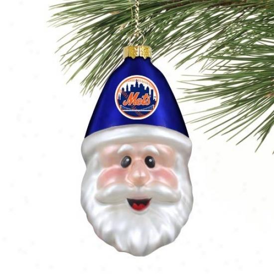 New Yoork Mets Blown Glass Santa Cover Ornament