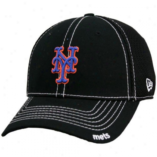 New York Mets Cap : New Erq Novel York Mets Black Neo 39thirty Stretch Fit Cap
