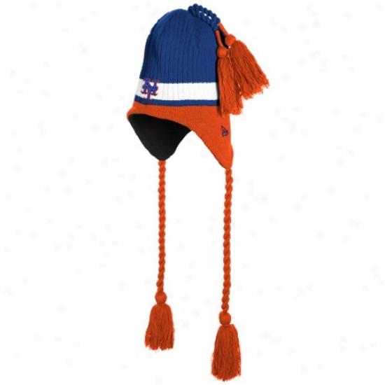 New York Mets Cap : New Era New York Mets Royal Blue Tasselhoff Knit Cap