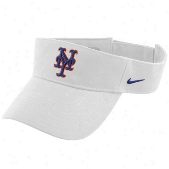 New York Mets Cap : Nike New York Mest White Mlb Adjustable Visor