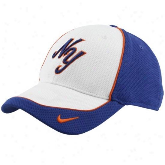 New York Mets Cap : Nike New York Mets White Suddenly Fly Swoosh Flex Mesh Cap