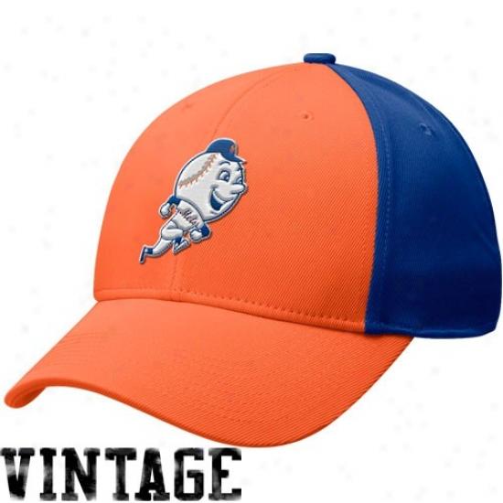 New York Mets Caps : Nike New York Mets Royal Blue-orange Cooperstown 2-one Swoosh Fiex Caps