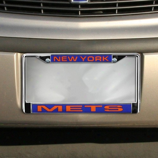 Starting a~ York Mets Chrome License Plate Frame
