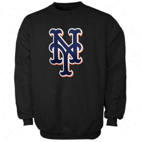 New York Mets Fleece : Majestic New York Mets Black Suedetek Logo Crew Fleece
