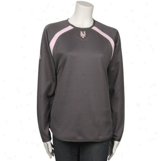 New York Mets Fleece : Majestic New York Mets Ladies Charcoal Therma Base Long Sleeve Strip