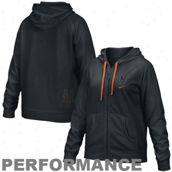 New York Mets Fleece : Nike New York Mets Ladies Black Therma-fit Full Zip Performance Fleece