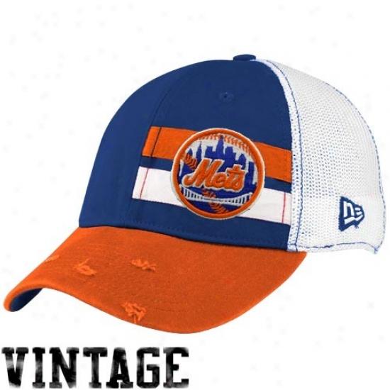 Neww York Mets Gear: New Era New York Mets White Double Stripe Vintage Flex Fit Hat