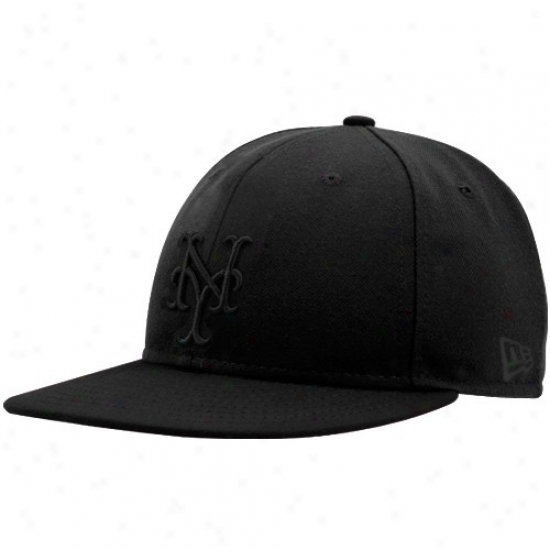 New York Mets Hat : New Era New York Mets Black Tonal Fitted Hat