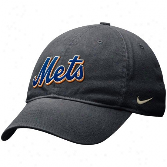 New York Mets Hat : Nike New York Mets Graphite Getaway Day Relaxed Swoosh Flex Hat
