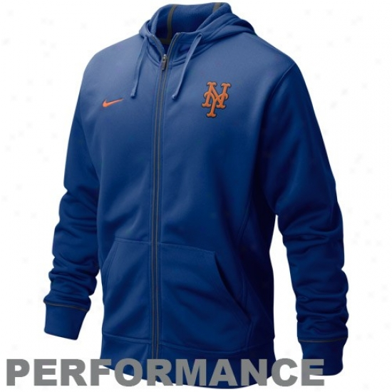 New York Mets Hoodie : Nike New York Mets Royal Blue Four Bagger Filled Zip Performance Hoodie