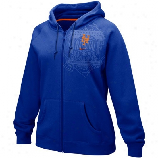 New York Mets Hoodies : Nike New York Mets Royal Blue Ladies League Entire extent Zip Hoodies