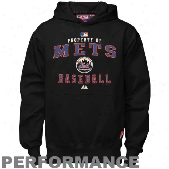 New York Mets Hoody : Majestic New York Mets Youth Black Property Of Performance Hoody