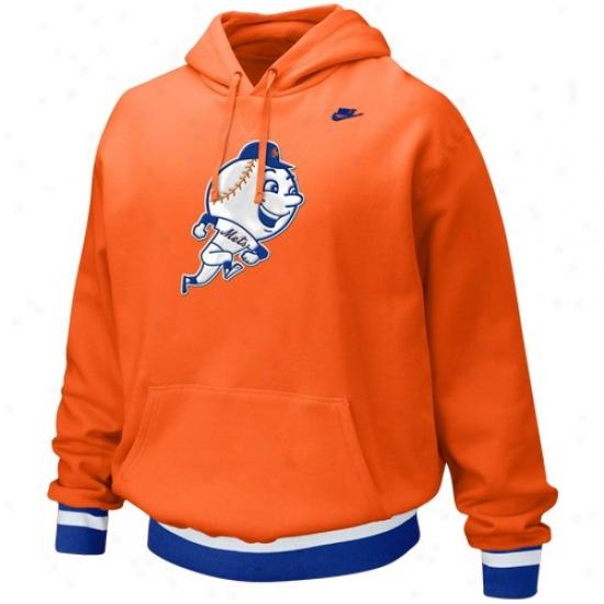New Yprk Mets Hoody : Nike New York Mets Orange Cooperstown Brushback  Hoody