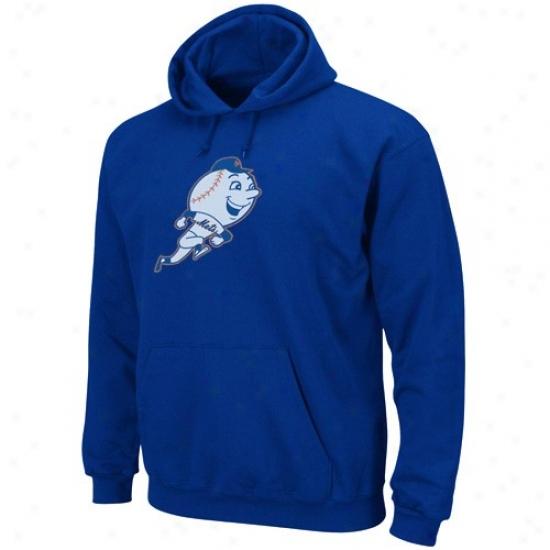 New York Mets Hoodys : Majsetic New York Mets Royal Blue Felt Tek Patch Hoodys