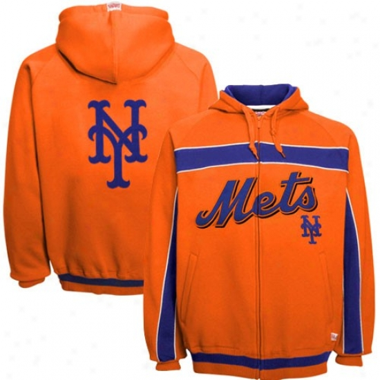 New York Mets Hoodys : New York Mets Orange Felt Applique Full Zip Hoodys