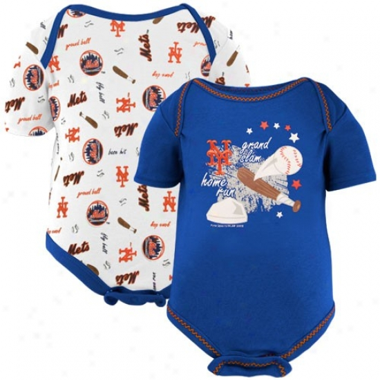 New York Mets Infant Royal Blue-white Grand Slam Creeper Set