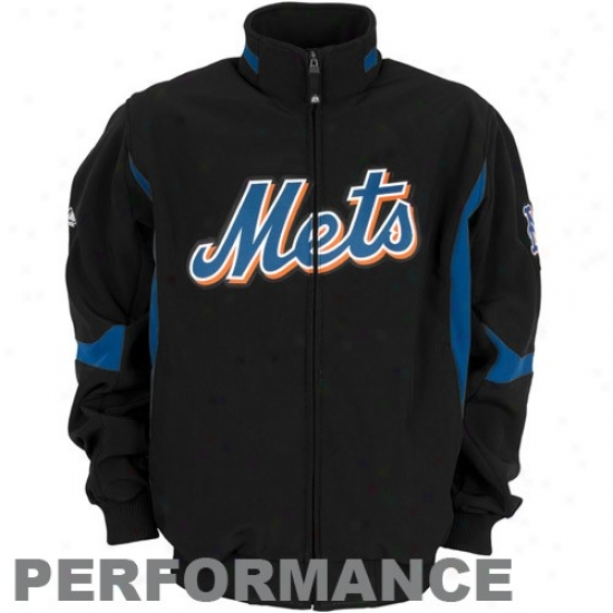 New York Mets Jacket : Majestic New York Mets Youth Black Thrma Basis Premier Elevation Performance Jacket