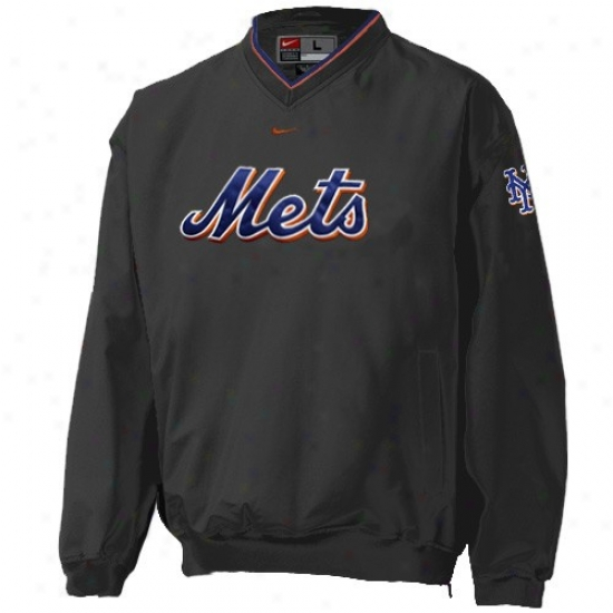 New York Mets Jacket : Nike New York Mets Youth Black Staff Ace Pullover
