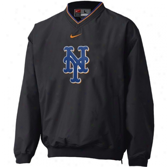 New York Mets Jackets : Nike Neww York Mets Black Staff Ace Pullover Windshirt