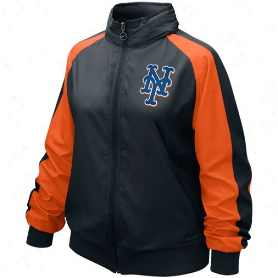 New York Mets Jackets : Nike New York Mets Ladies Black Mlb Full Zip Wind Jackets