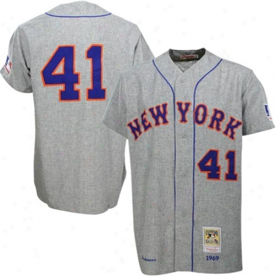 New York Mets Jersey : Mitchelo & Ness New Yor kMets #41 Tom Sewver 1969 Path Grey Authentic Throwback Jersey
