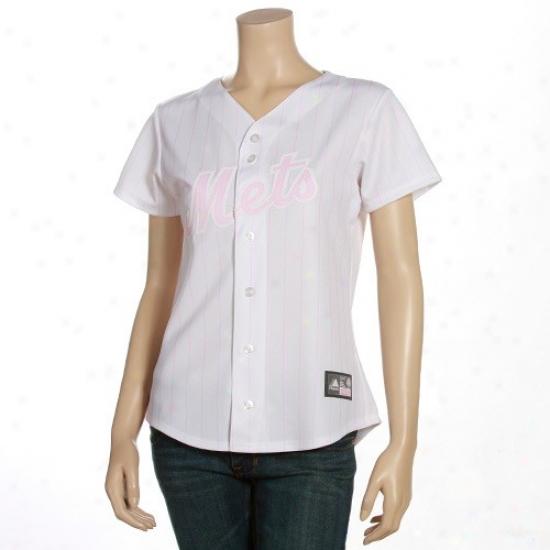 New York Mets Jerseys : Majestic Unaccustomed York Mets Ladies White-pink Pinsyripe Fashion Baseball Jerseys
