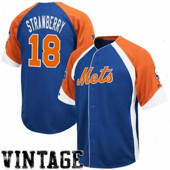 New York Mets Jerseys : Majestic New York Mets #18 Darryl Strawberry Royal Blue-orange Wheelhouse Cooperstown Player Baseball Jerseys