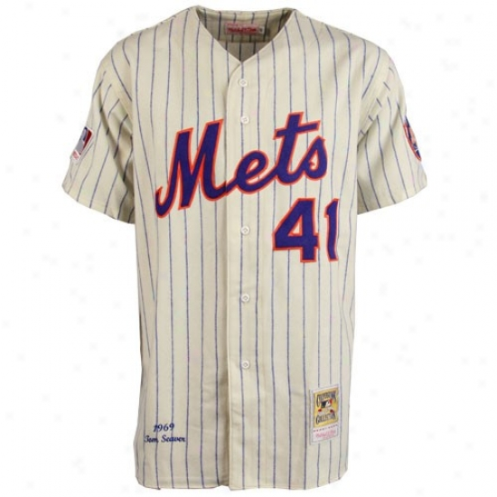 New York Mets Jerseys : Mitchell & Ness New York Mets #41 Tom Seaver White Plnstripe Throwback Jerseys