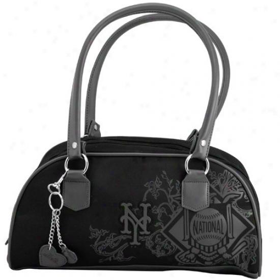 New York Mets Ladies Black Caprice Handbag