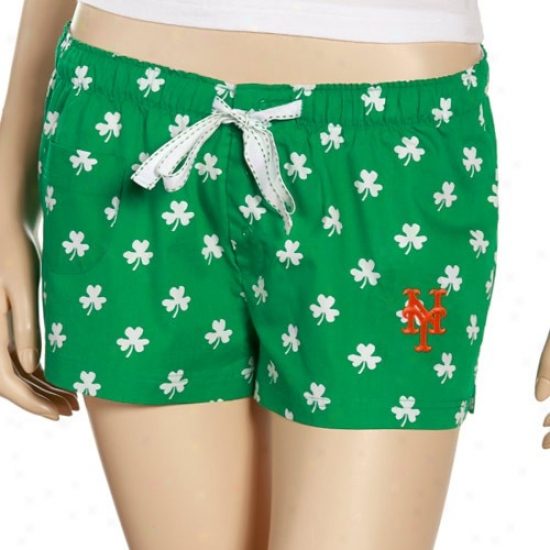 New York Mets Ladies Kelly Green Dublin Boxer Shorts