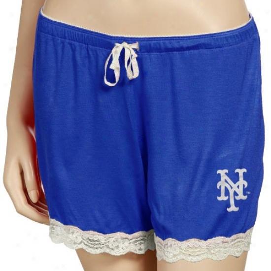 New York Mets Ladies Royal Blue Super-soft Lace Trim Bdetime Shorts