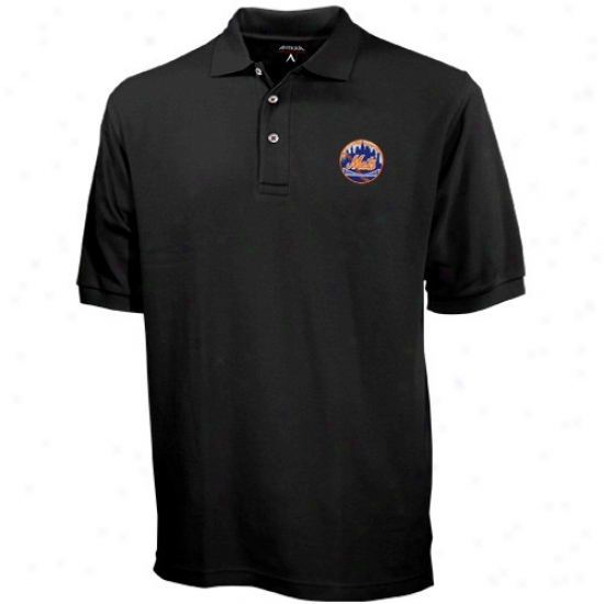 New York Mets Polo : Antigua New York Mets Black Classic Polo