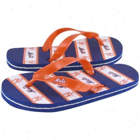New York Mets Royal Blue-orange Team Logo Unisex Flip Flops