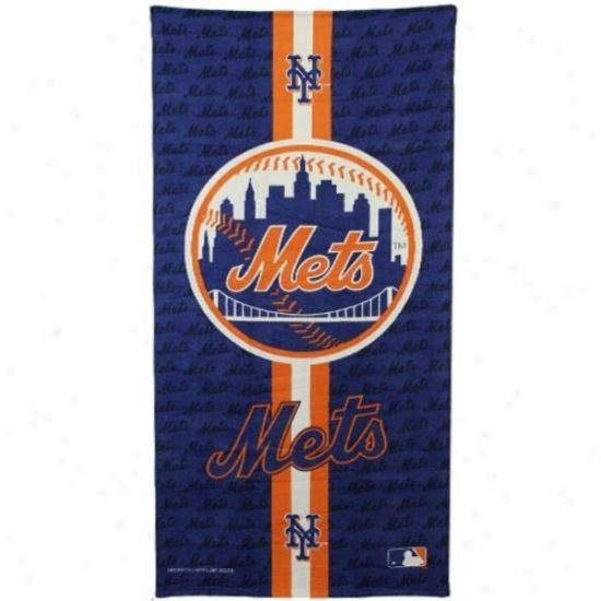 New York Mets Royal Blue Team Stripe Beach Towel