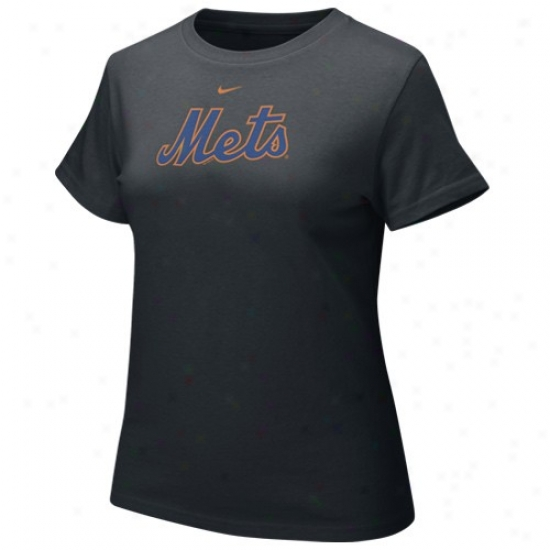 New York Mets Shirt : Nike New York Mets Black Ladies Authentic Crew Shirt