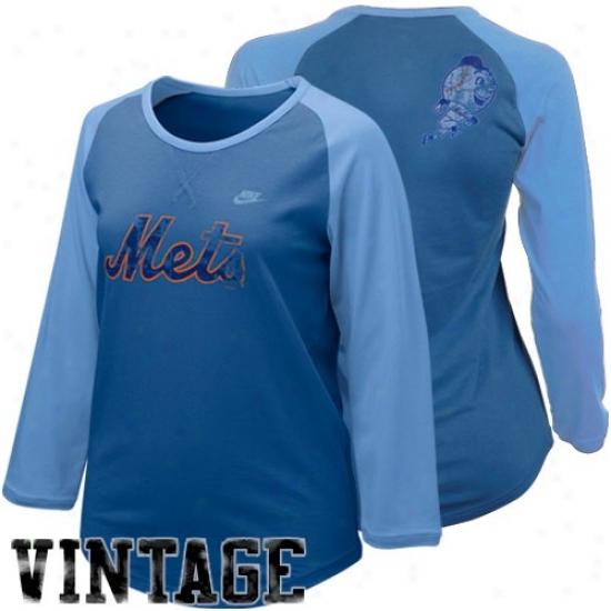 New York Mets Shirt : Nioe New York Mets Ladies Royal Blue-light Blue Cooperstown Full Count Premium Raglan Shirt