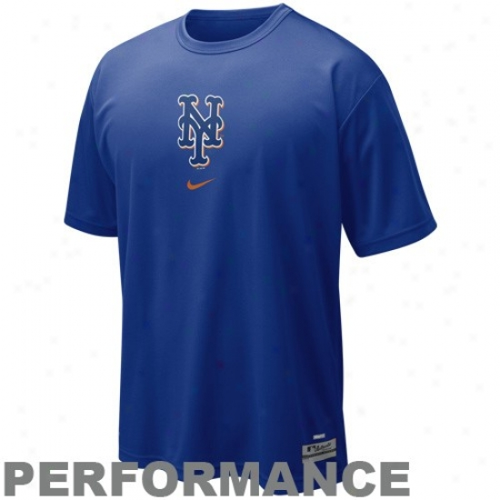 New York Mets Shirt : Nike New York Mets Royal Bluee Nikefit Logo Performance Top