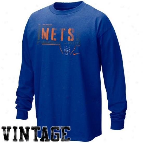 New York Mets Shirts : Nike New York Mets Royal Blue Looping Liner Long Sleeve Vintage Shirts