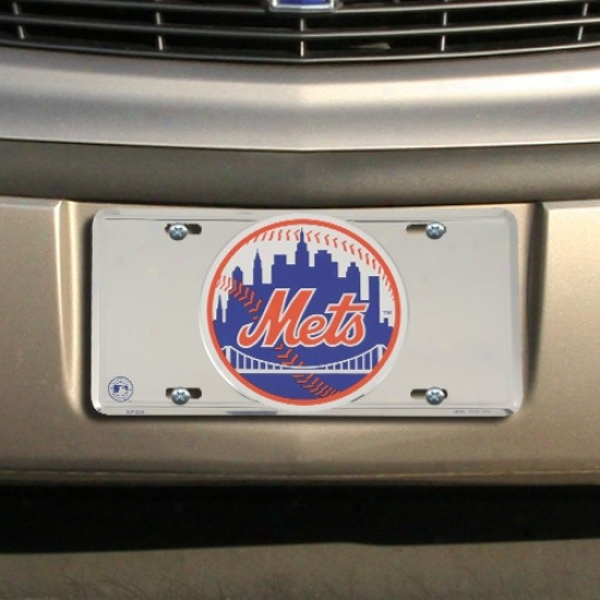 New York Mets Silver Super Stock Metal License Plate