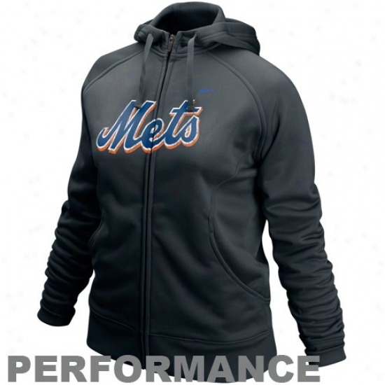 New York Mets Stuff: Nike New York Mets Ladies Black Slasher Therma-fit Pedformance Full Zip Hoody Sweatshirt
