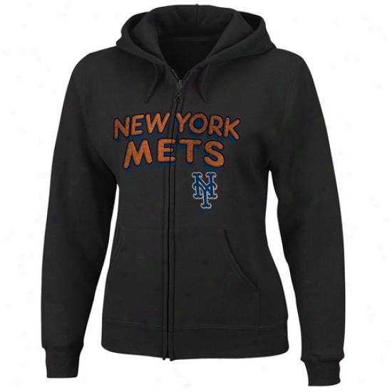 New York Mets Sweat Shirt : Majestic New York Mets Ladies Black Instant Replzy Full Zip Sweat Shirr