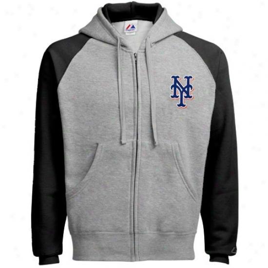 New York Mets Sweatshirts : Majestic New York Mets Ash Classic Full Zip Sweatshirts