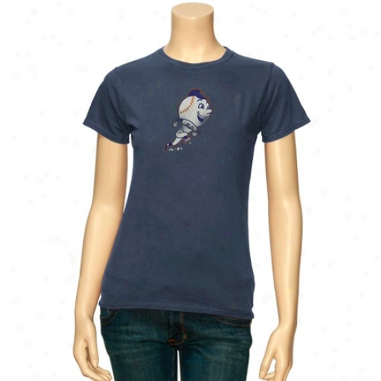 New York Mets T Shirt : Majestic New York Mets Ladies Heather Blue Cooperstown Big Time Play T Shirt