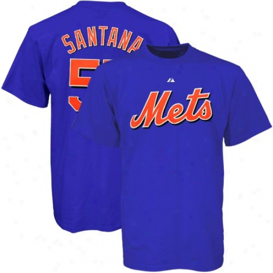 New York Mets T Shirt : Majestic New York Mets #57 Johan Santana Royal Blue Players T Shirrt