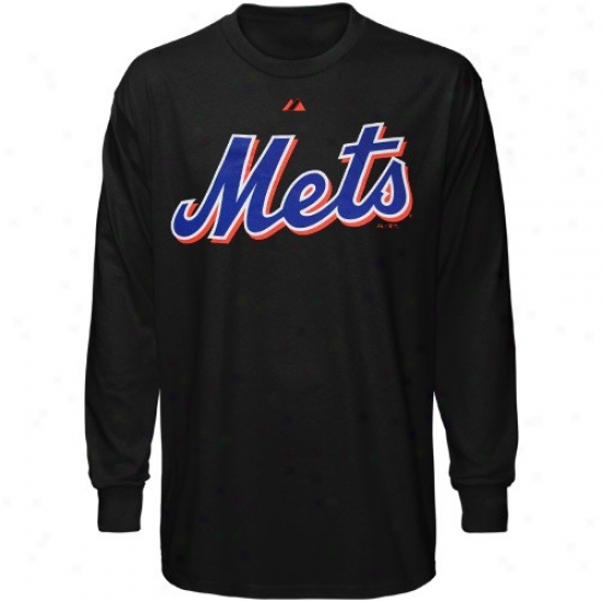 New York Mets T-shirt : Majestic New York Mets Black Wordmark Long Sleeve T-shirt